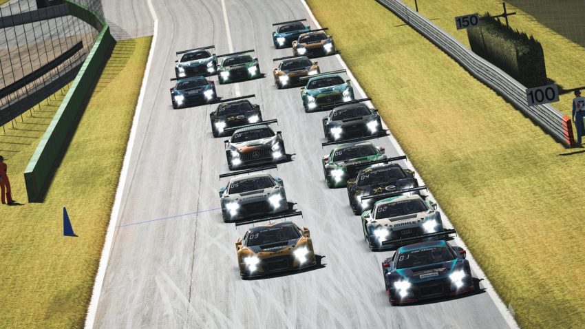 14.02.2021,24H SERIES ESPORTS powered by VCO,Round 4, Monza, Start action GT3 class,iRacing